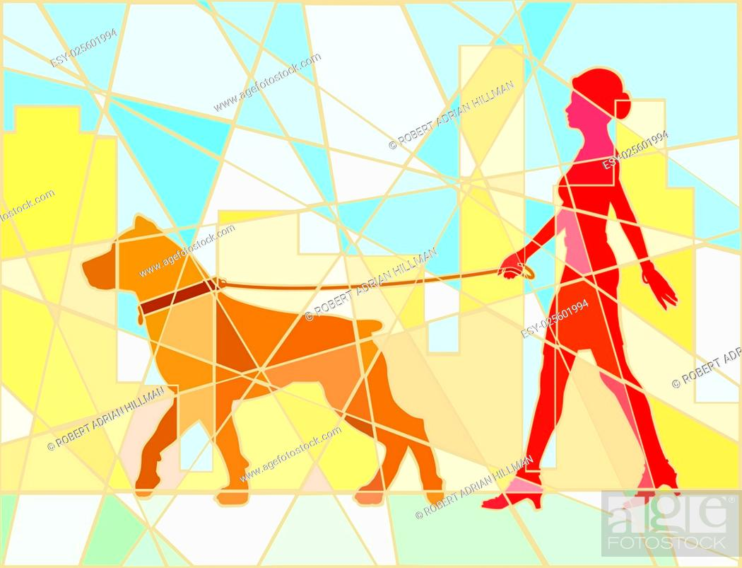 Stock Vector: Editable vector mosaic illustration of a woman walking her dog.