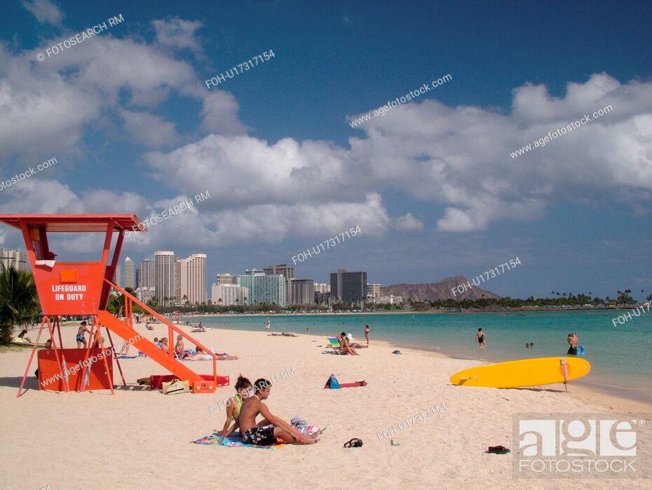 Waikiki, Honolulu, Oahu, HI, Hawaii, Ala Moana Beach Park, Diamond ...