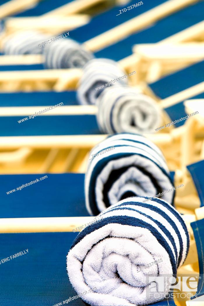 Stock Photo: Available pool side towels for Passengers. Cunard's Queen Victoria.