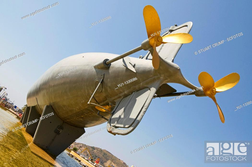 Stock Photo: The Peral Submarine invented by Isaac Peral born in Cartagena which is mounted on the waterfront Cartagena, Murcia , Spain.