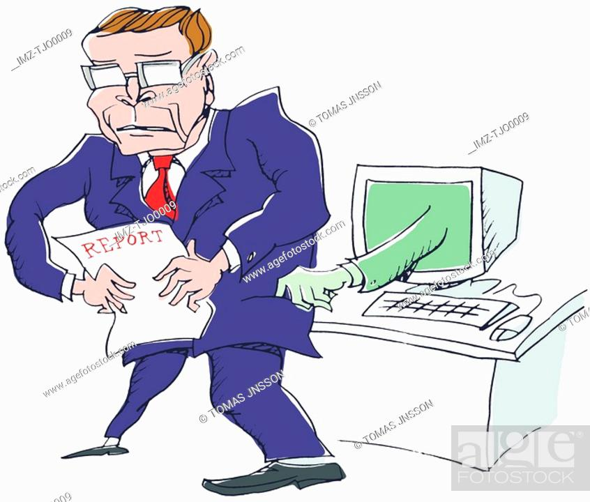 Stock Photo: A thieving computer tries to steal the report away from a business man.