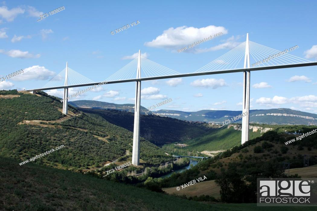 Stock Photo: Viaduct Millau, A75, Aveyron, Midi-Pyrenees, France.