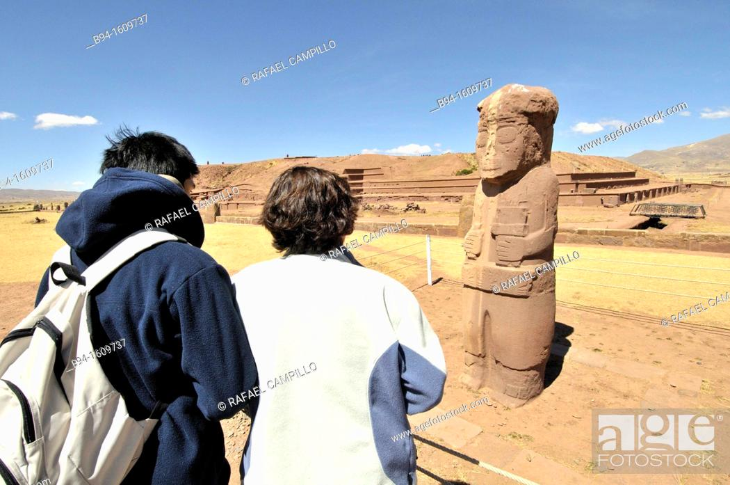 Stock Photo: Tiwanaku ruins, (Spanish: Tiahuanaco and Tiahuanacu) is an important Pre-Columbian archaeological site in western Bolivia. Fraile monolith.