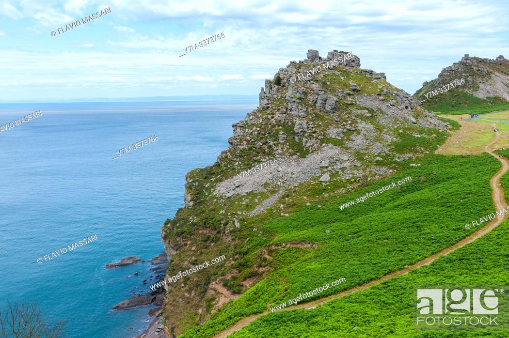 Stock Photo: The Valley of Rocks is a dry valley that runs parallel to the coast in north Devon, England.