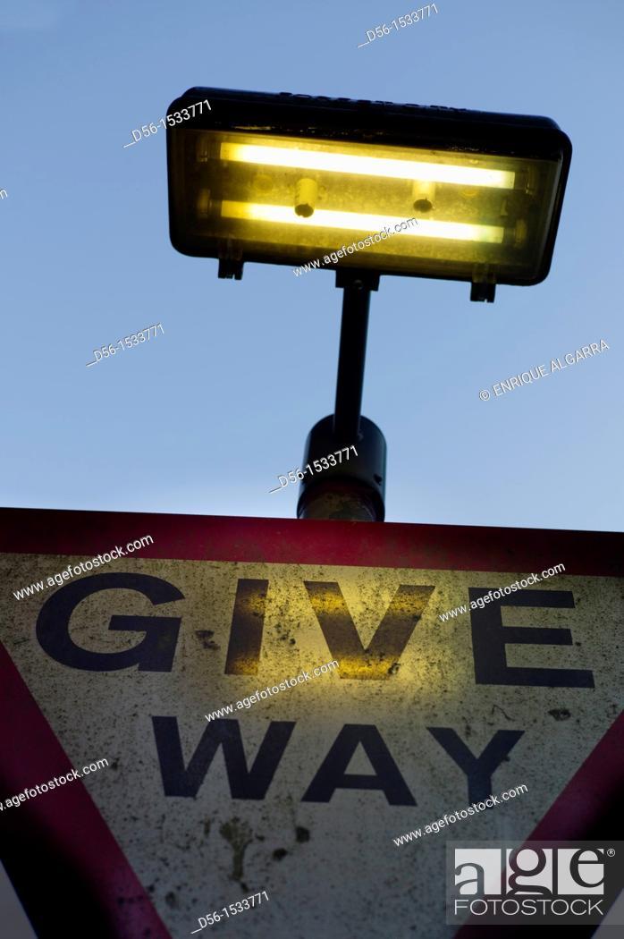 Stock Photo: Give way sign, Belfast, Northern Ireland.