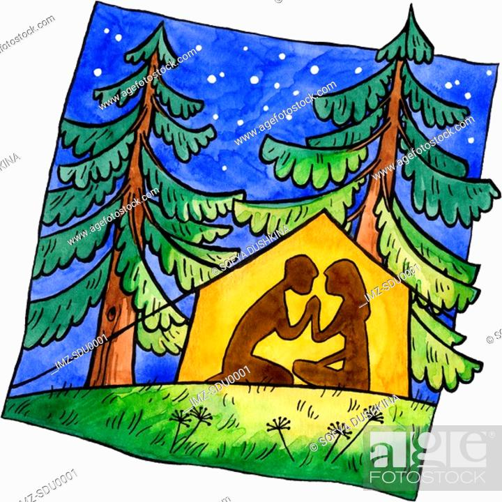 Stock Photo: A painting of a couple camping in a tent under the stars.