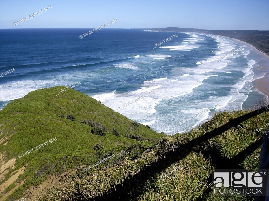 Stock Photo: Tallow beach panoramic seen from Cape Byron, New South Wales, Australia.