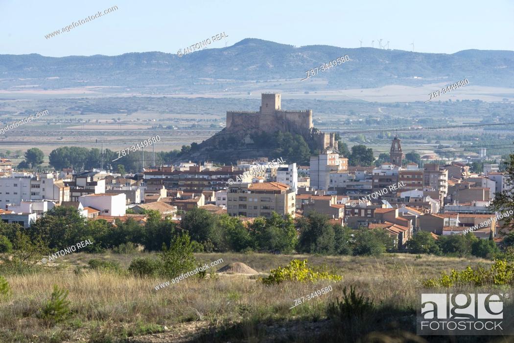 Stock Photo: Almansa and the Castle. Almansa, Albacete Province, Spain.