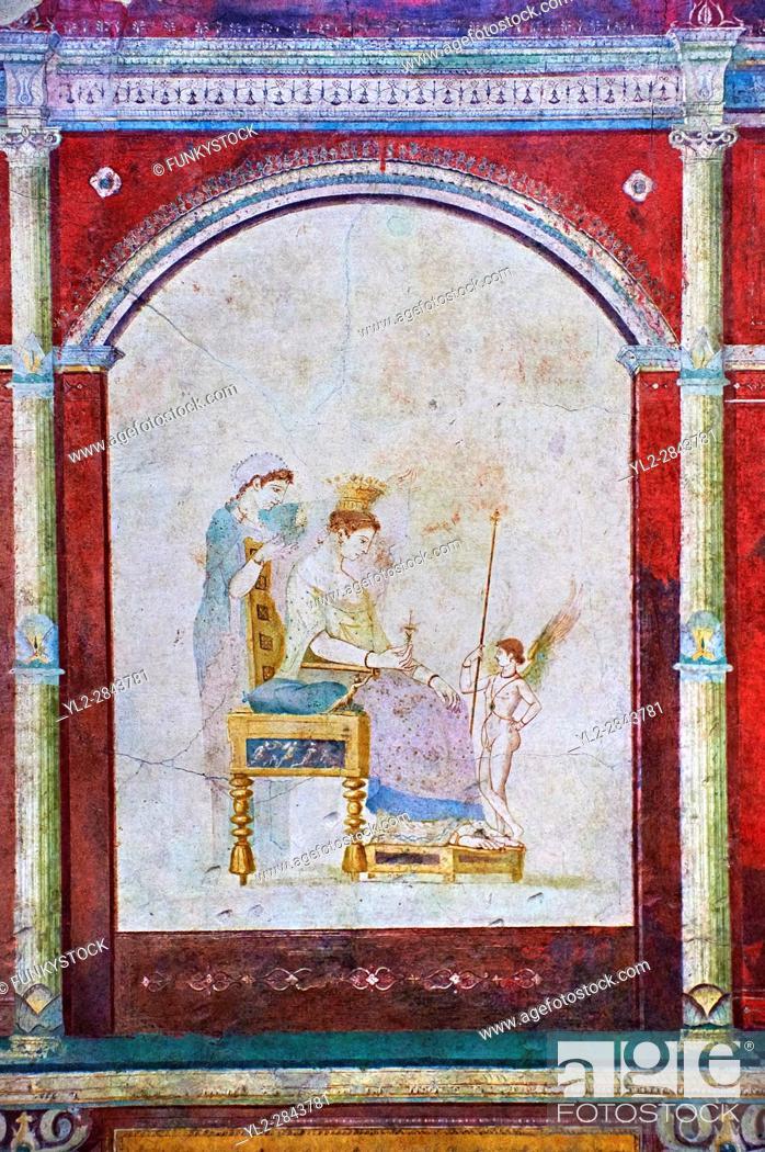Stock Photo: Roman fresco wall decorations of the Bedroom B, the Villa Farnesia, Rome. Museo Nazionale Romano ( National Roman Museum), Rome, Italy. .