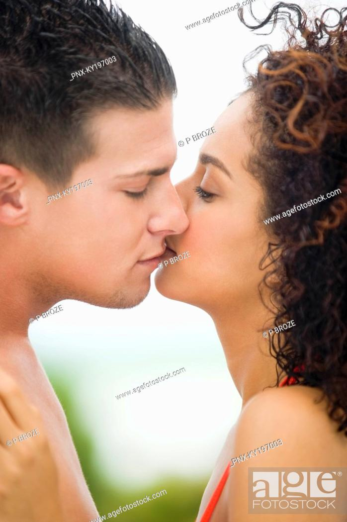 Stock Photo: Close-up of a couple kissing each other.