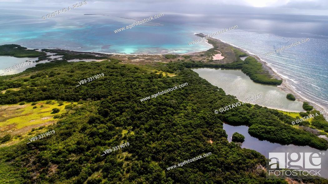 Stock Photo: aerial view lagoonlandscape sebastopol los roques venezuela.