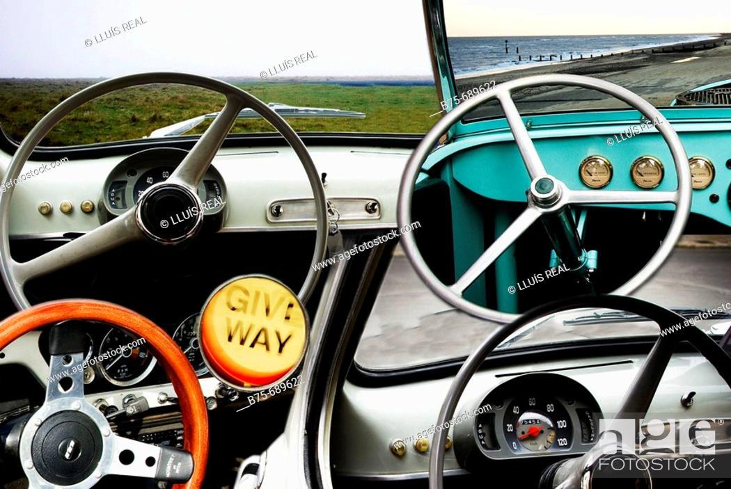 Stock Photo: Steering wheels.