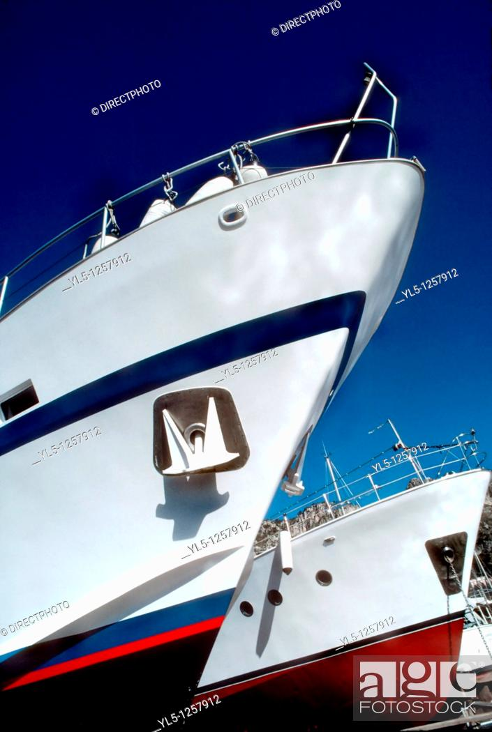 Stock Photo: Beaulieu-sur-Mer, South of France, Detail, Front Hull, Yacht in Port, Cote d'Azur, French Riviera.