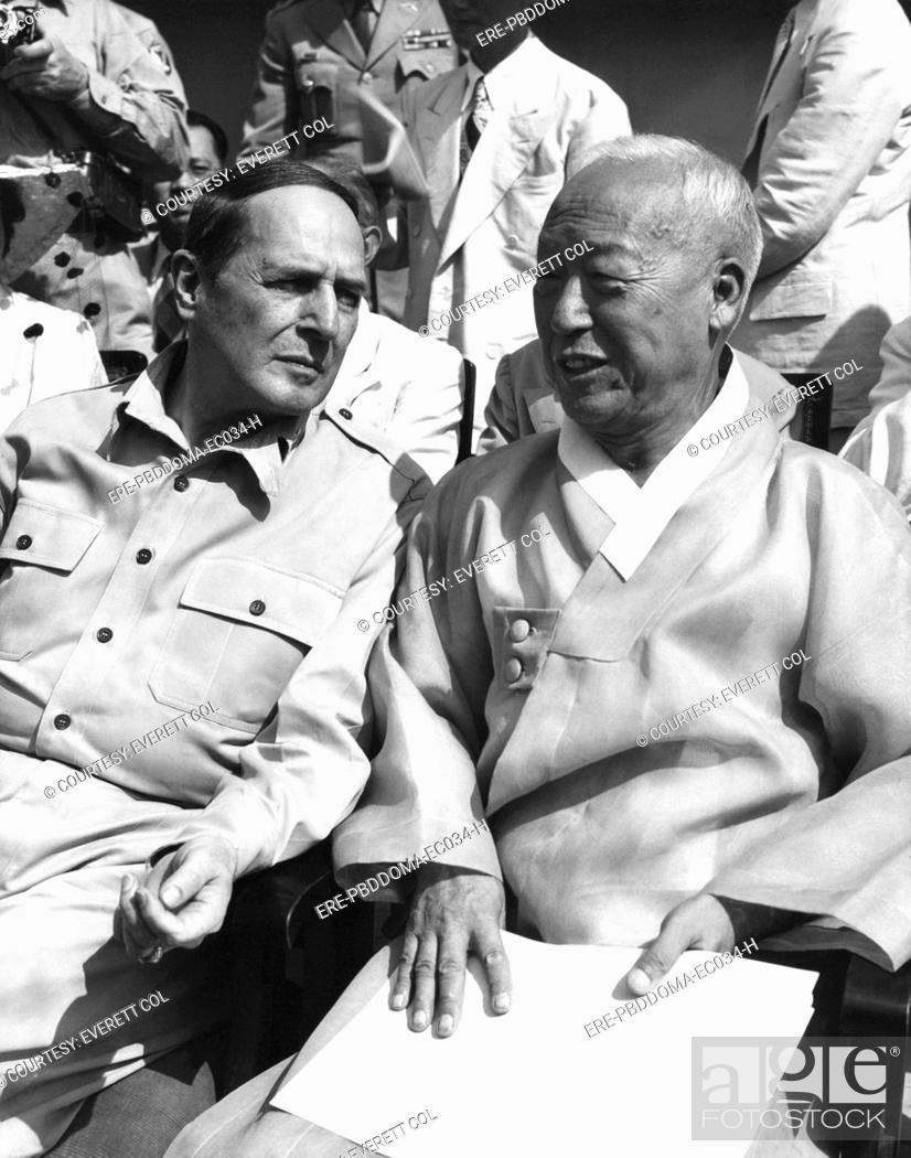 From left, General Douglas MacArthur, Korean President Syngman Rhee