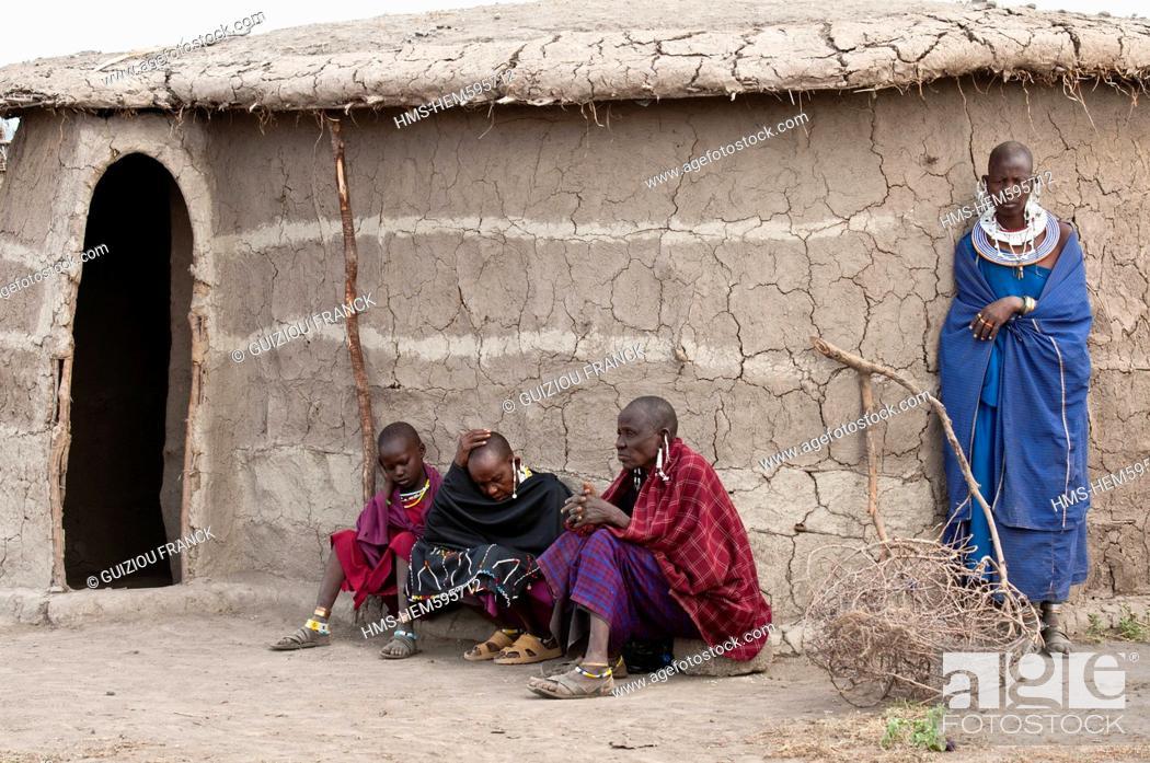 Stock Photo: Tanzania, Arusha Region, Rift Valley, around Manyara National Park, a Maasai village around Mto Wa Mbu.