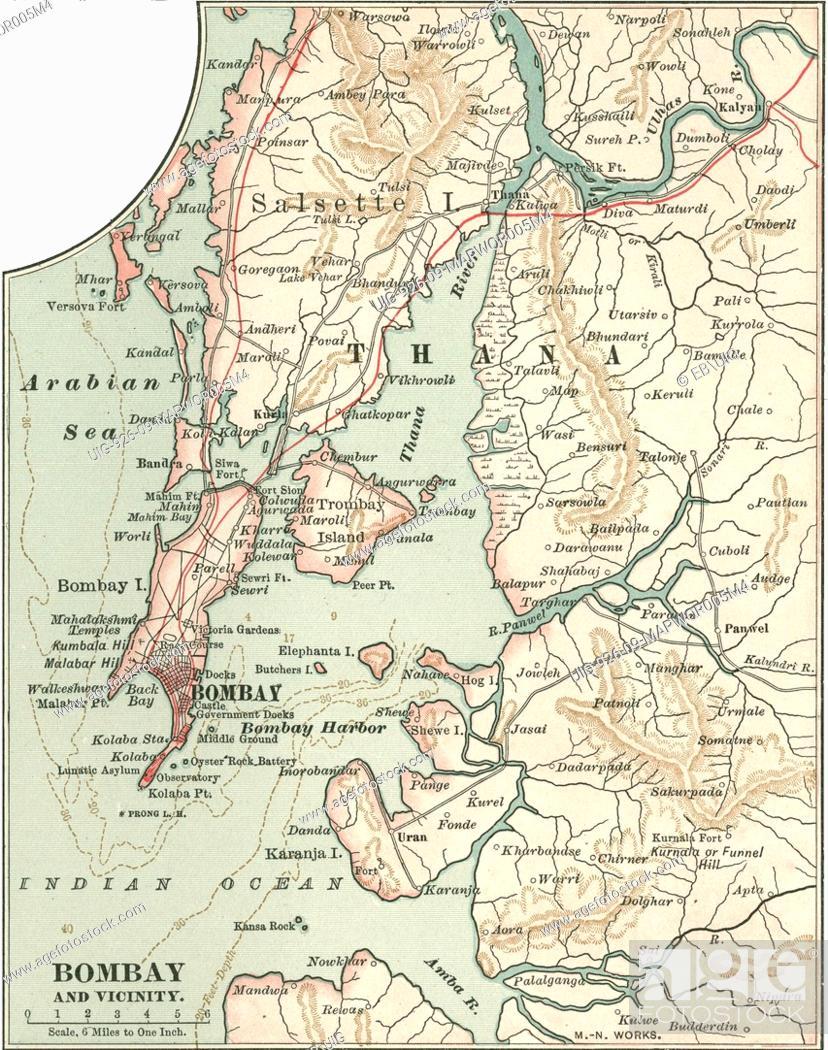 Map Of The City Of Bombay Now Mumbai And Vicinity India Circa 1900