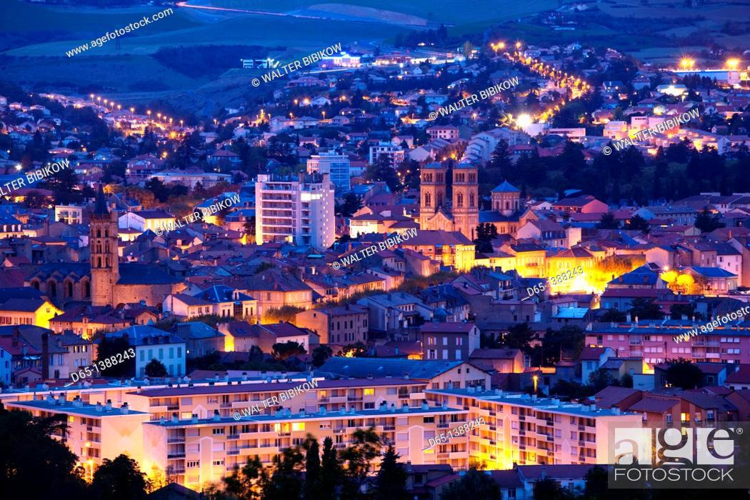 Stock Photo: France, Midi-Pyrenees Region, Aveyron Department, Millau, elevated town view, dawn.