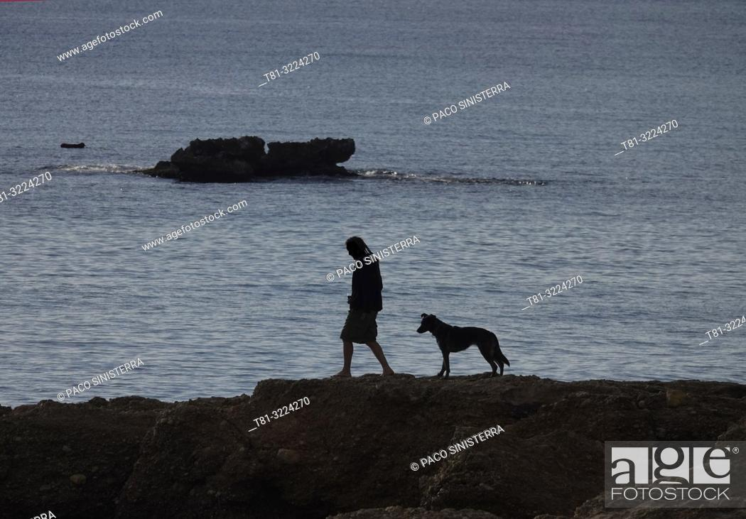 Imagen: Silhouette of man with dog on the beach. Almeria province, Andalusia, Spain.