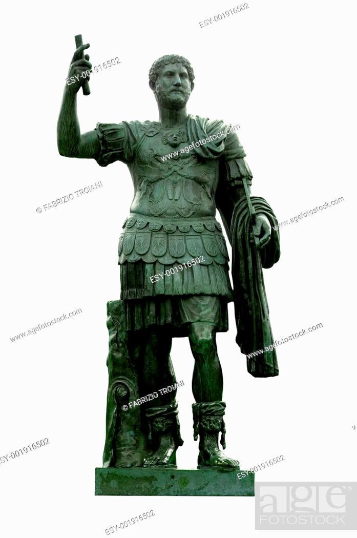 Stock Photo: Bronze statue of emperor Hadrian in the Giardini di Castel Sant'Angelo, Rome, Italy.
