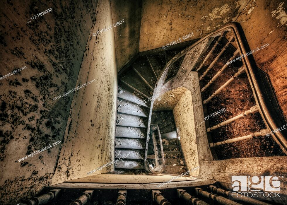 Stock Photo: Staircase of spooky abandoned house.