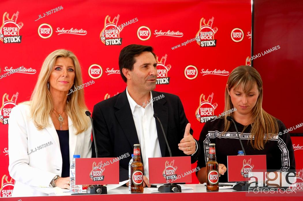 Stock Photo: Music: SuperBock em Stock press conference presentation in Skybar Tivoly Hotel at Lisbon, Portugal. Maria Estarreja, Luis Montez and Silvia.