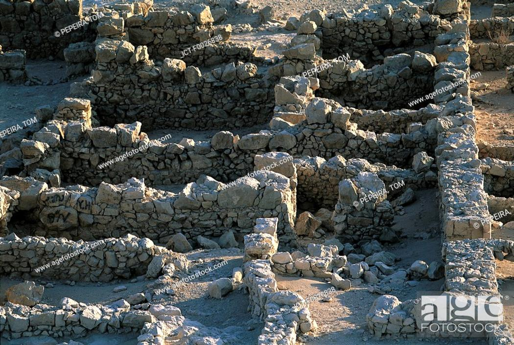 Stock Photo: Israel, near the Dead Sea, ruins of the Masada fortress.
