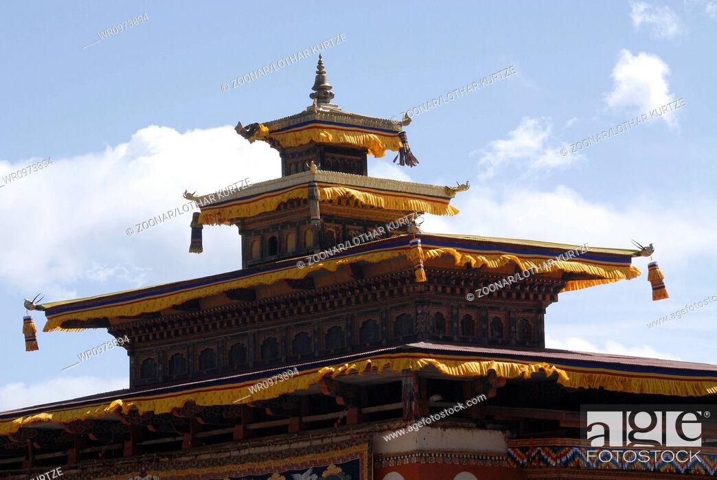 Stock Photo: Roof of talo monastery, Bhutan.