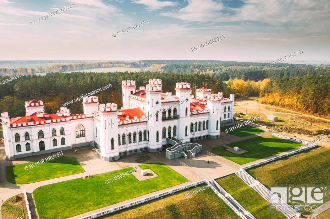 Stock Photo: Kosava, Belarus. Aerial Bird's-eye View Of Famous Popular Historic Landmark Kosava Castle. Puslowski Palace Castle. Landmark And Heritage.