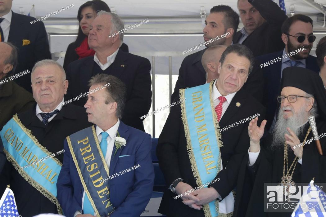 Stock Photo: Fifth Avenue, New York, USA, April 22, 2018 - Thousands of Peoples in Traditional Greek Costumes, Dignitaries along with Grand Marshal Andrew Cuomo Participated.