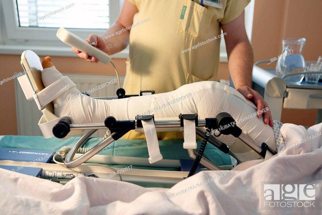 Stock Photo: Rehabilitation, patient, hospital room, surgery department, health service, hospital, Czech Republic.