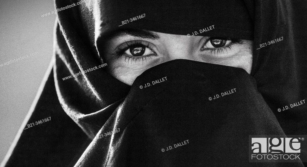 Stock Photo: Morocco, woman near Tafraoute.