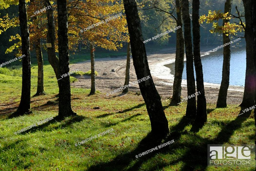 Stock Photo: Lac des Settons, Parc Naturel Regional du Morvan, Nievre, Bourgogne, France.