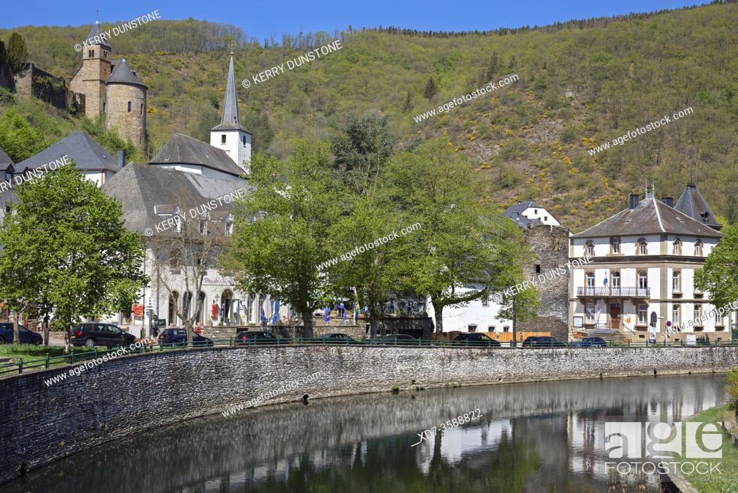 Stock Photo: Europe, Luxembourg, Esch-sur-Sure, Esch-sur-Sûre, Views of River Sûre and Village Centre.