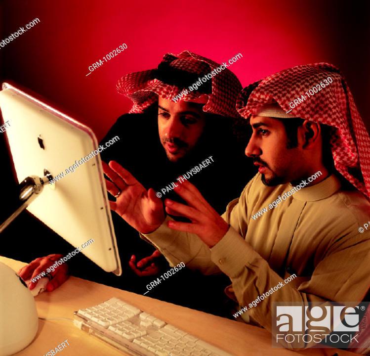 Stock Photo: Business presentation on computer.