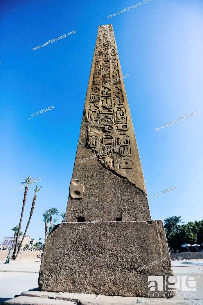 Stock Photo: Obelisk of Karnak temple, Luxor city, Egypt.