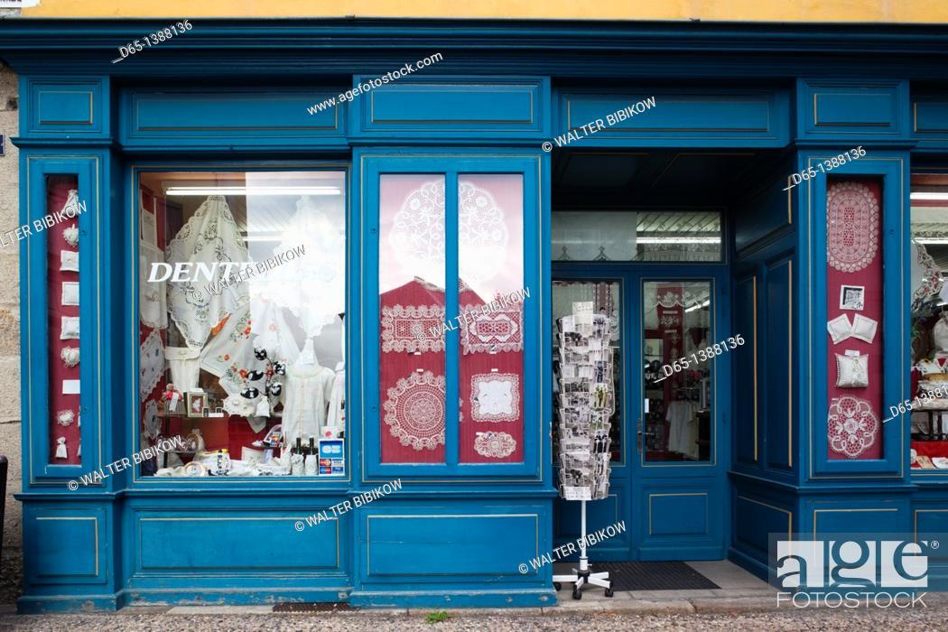 Stock Photo: France, Haute-Loire Department, Auvergne Region, Le Puy-en-Velay, lace shop.