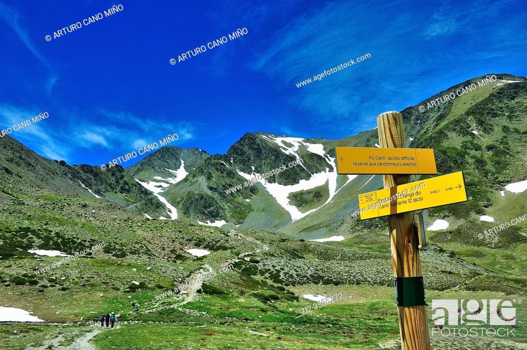 Stock Photo: The Peak Carlit (2912 mts.). The Catalan Pyrenees Regional Natural Park in the French Pyrenees. Angoustrine-Villeneuve-des-Escaldes town.