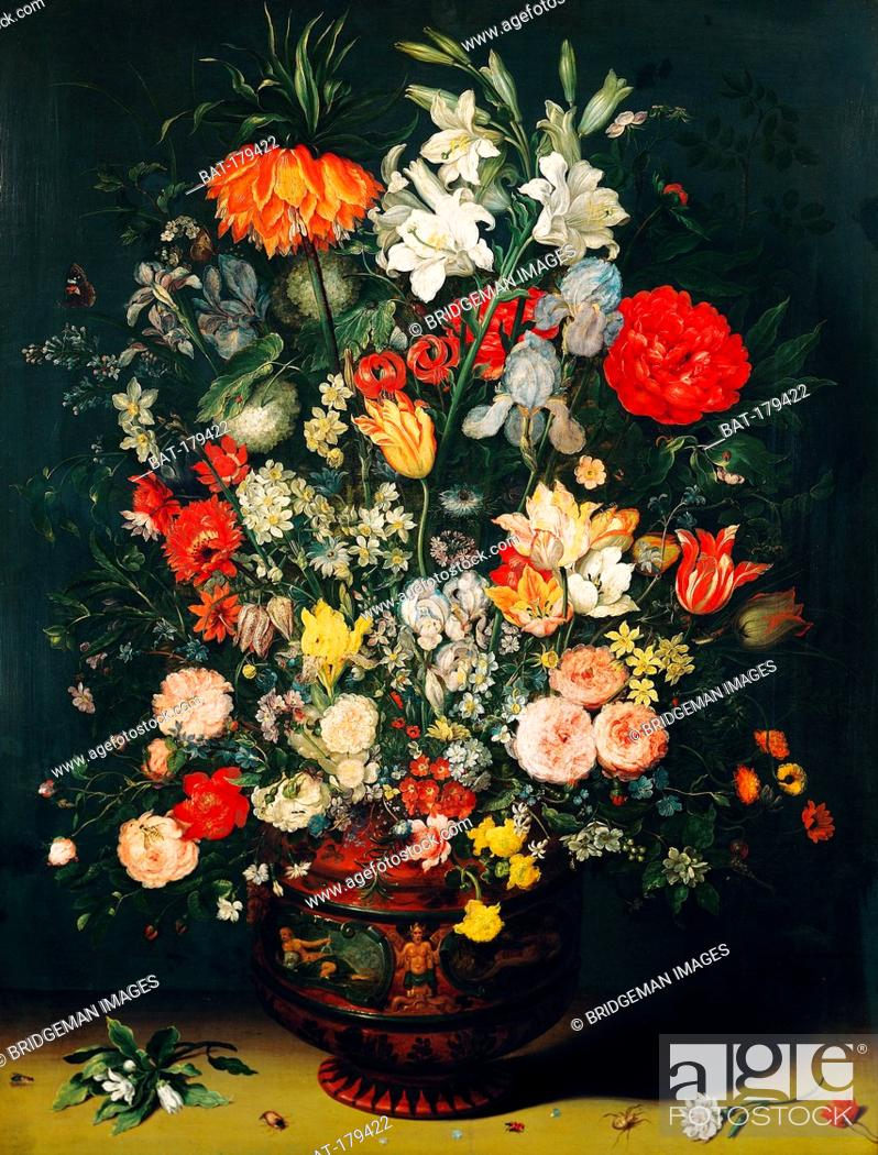 Stock Photo: Vase of Flowers (oil on canvas), Brueghel, Jan the Elder (1568-1625) / Koninklijk Museum voor Schone Kunsten, Antwerp, Belgium / Bridgeman Images.