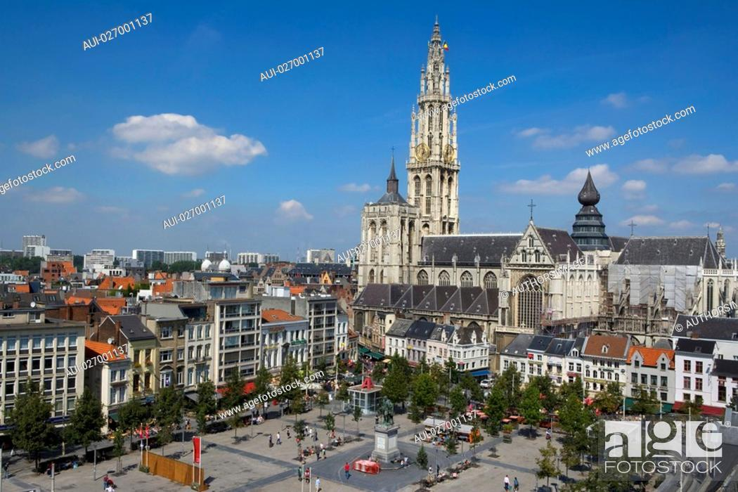 Stock Photo: Belgium - Flanders - Antwerp - View on the Groenplaats Green Square and the Cathedral of Our Lady Onze-Lieve-Vrouwekathedraal.