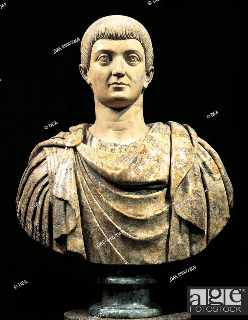 Stock Photo: Roman civilization, 4th century. Marble bust of emperor Costanzo (317-361).  Paris, Musée Du Louvre.