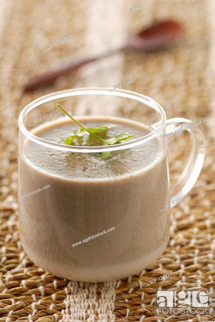 Stock Photo: Big button mushroom creamy soup.