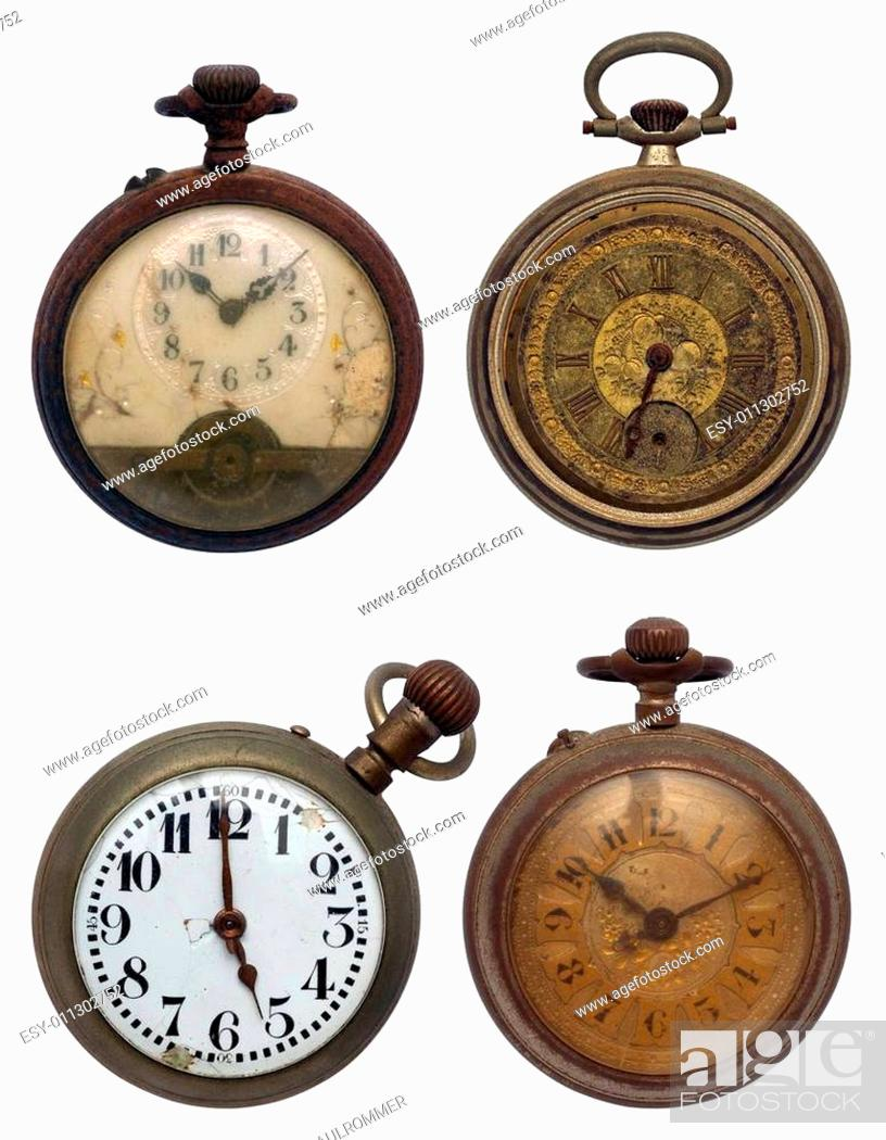 Stock Photo: set of four old pocket watches, isolated with clipping path.