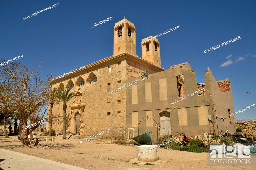 Stock Photo: Church Iglesia de San Pedro, Island of Tabarca, Isla de Tabarca, Alicante province, Costa Blanca, Spain, Europe.
