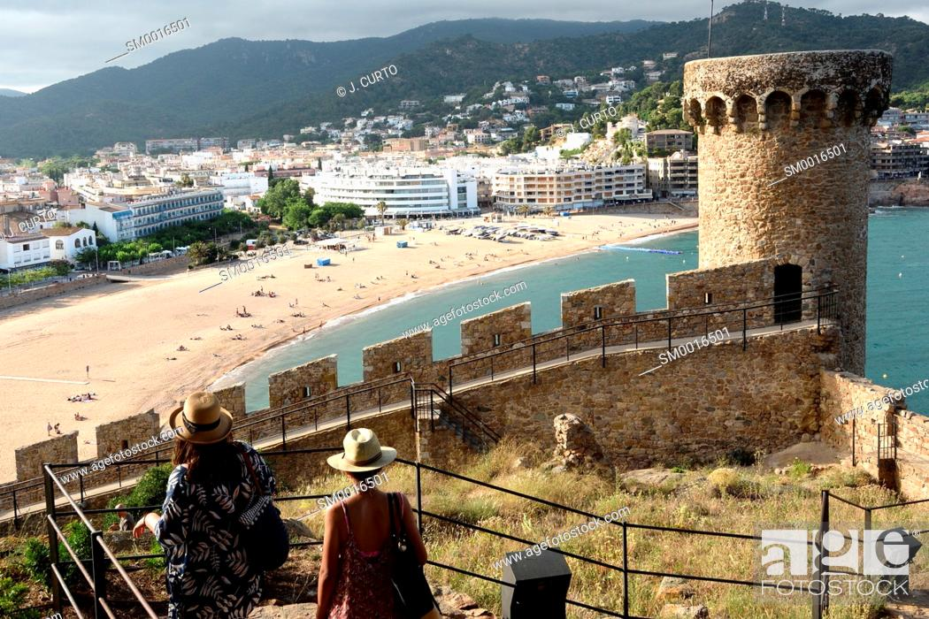 Stock Photo: beach and old town of the village of Tossa de Mar, Girona province, Catalonia, Spain.