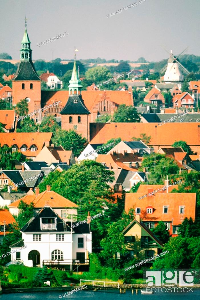 Stock Photo: High angle view of buildings in a city, Funen County, Denmark.
