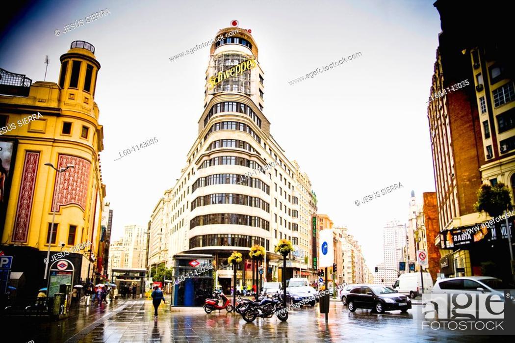 Stock Photo: Plaza del Callao in Madrid Spain.