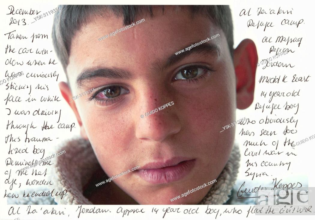Stock Photo: Tilburg, Netherlands. Scan of a printed portrait of a Syrian refugee boy with noted and comments about his situation in refugeecamp Al Za'aatari, Jordan.