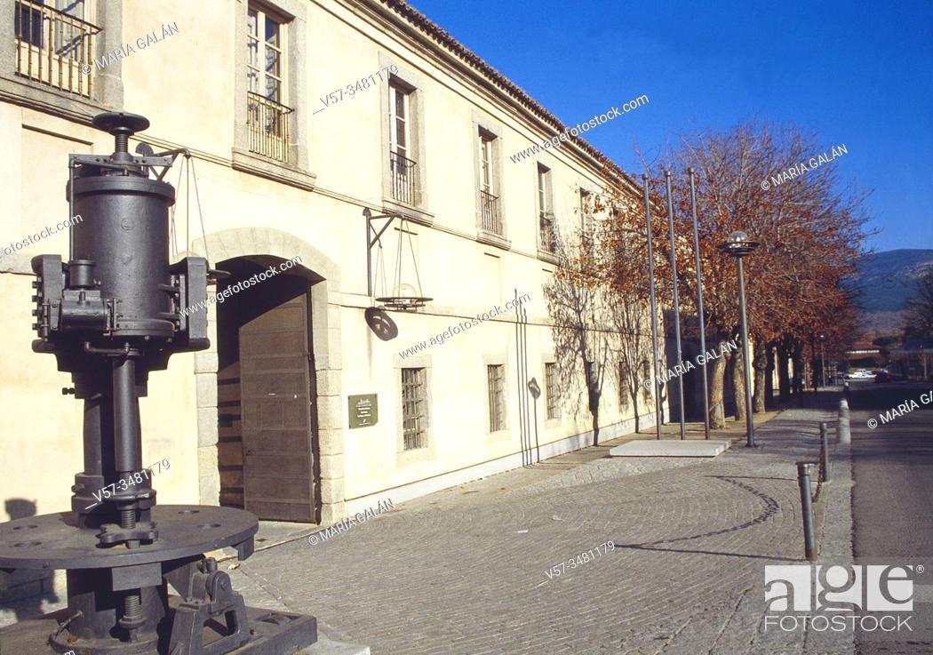 Stock Photo: Facade of Real Fabrica de Vidrios. La Granja de San Ildefonso, Segovia province, Castilla Leon, Spain.