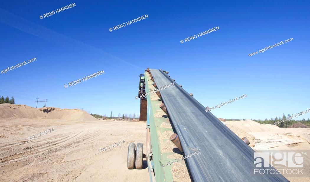 Stock Photo: Conveyor belt on sandpit  Location Lintharju Suonenjoki Finland Scandinavia Europe.