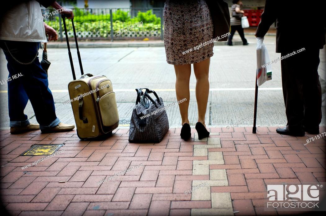 Stock Photo: Waiting, bus stop.